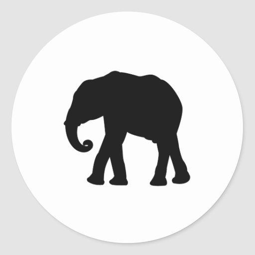 Silueta del elefante pegatina redonda