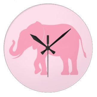 Silueta del elefante reloj redondo grande