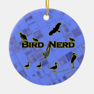 Silueta del empollón del pájaro adorno navideño redondo de cerámica
