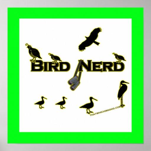 Silueta del empollón del pájaro póster