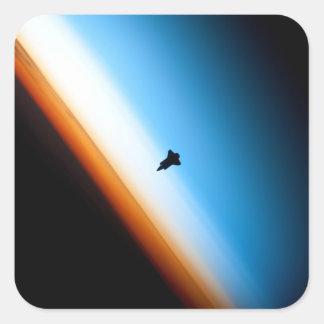 Silueta del esfuerzo del transbordador espacial calcomania cuadradas