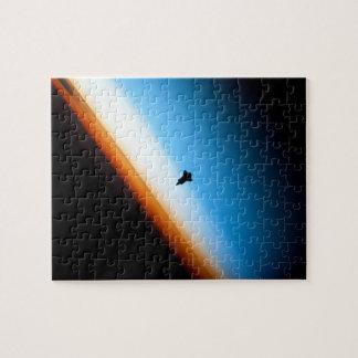 Silueta del esfuerzo del transbordador espacial rompecabeza con fotos