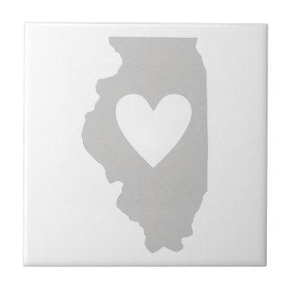 Silueta del estado de Illinois del corazón Azulejo Cerámica