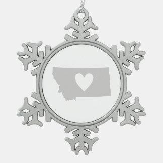 Silueta del estado de Montana del corazón Adorno De Peltre En Forma De Copo De Nieve