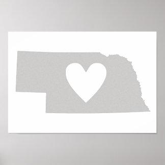 Silueta del estado de Nebraska del corazón Poster