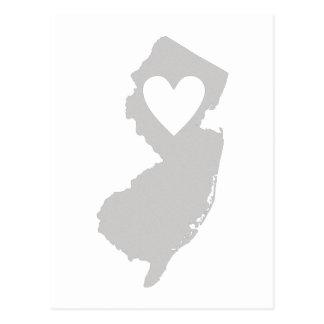 Silueta del estado de New Jersey del corazón Postal