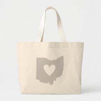 Silueta del estado de Ohio del corazón Bolsa Tela Grande