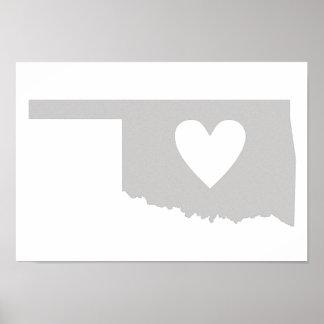 Silueta del estado de Oklahoma del corazón Impresiones