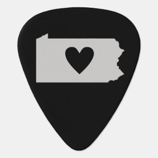 Silueta del estado de Pennsylvania del corazón Púa De Guitarra