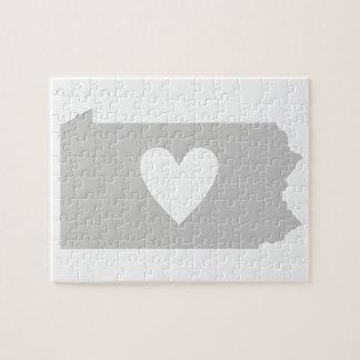 Silueta del estado de Pennsylvania del corazón Puzzles Con Fotos