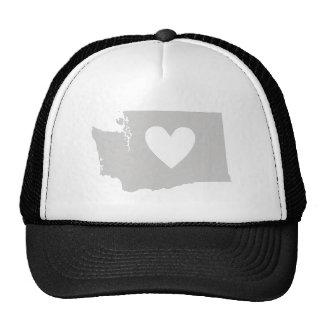 Silueta del estado de Washington del corazón Gorra