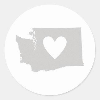 Silueta del estado de Washington del corazón Pegatina Redonda