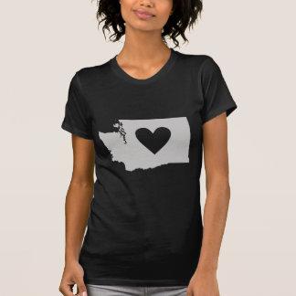 Silueta del estado de Washington del corazón Camisetas