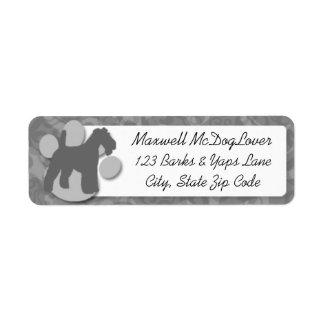 Silueta del fox terrier del alambre etiquetas de remite