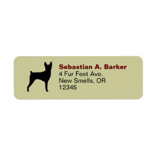 Silueta del fox terrier del juguete etiqueta de remitente
