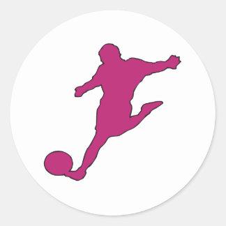 Silueta del fútbol pegatina redonda