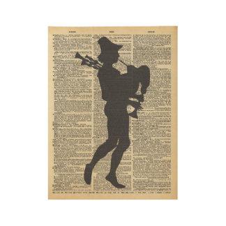 Silueta del gaitero del vintage en la página vieja póster de madera