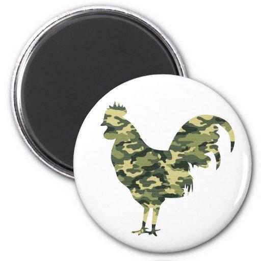 Silueta del gallo del camuflaje imán redondo 5 cm