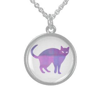 Silueta del gato collar de plata esterlina