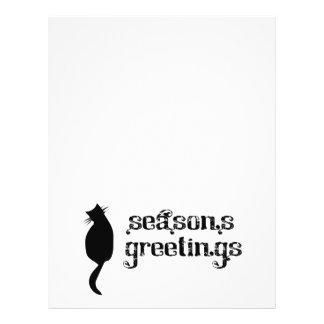 """Silueta del gato de los saludos de la estación folleto 8.5"""" x 11"""""""