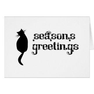 Silueta del gato de los saludos de la estación tarjeta de felicitación