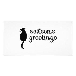 Silueta del gato de los saludos de la estación tarjetas fotográficas personalizadas