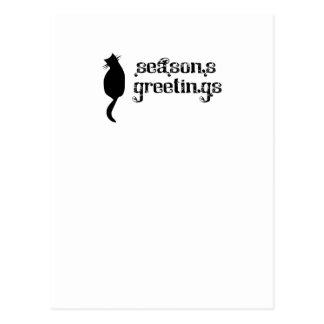 Silueta del gato de los saludos de la estación tarjetas postales