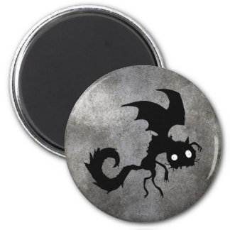 Silueta del gato del vampiro imán redondo 5 cm