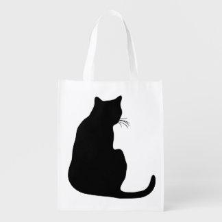 Silueta del gato negro bolsa para la compra