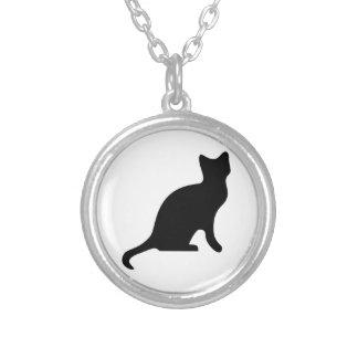 Silueta del gato negro pendiente personalizado