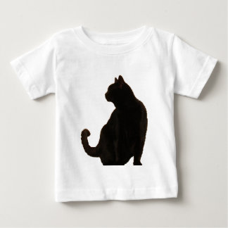 Silueta del gato negro de Halloween Playera Para Bebé