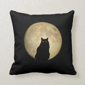 Silueta del gato negro de la Luna Llena Almohada