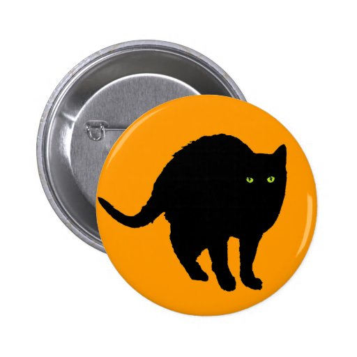 Silueta del gato negro en el naranja pin redondo 5 cm