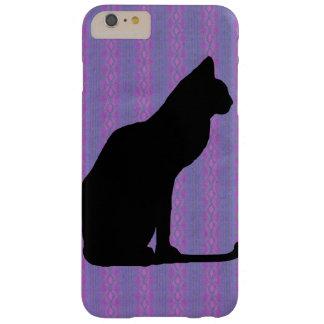 Silueta del gato negro en rayas púrpuras funda de iPhone 6 plus barely there