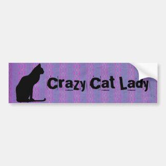 Silueta del gato negro en rayas púrpuras pegatina para auto