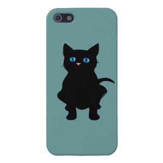 Silueta del gato negro iPhone 5 carcasas