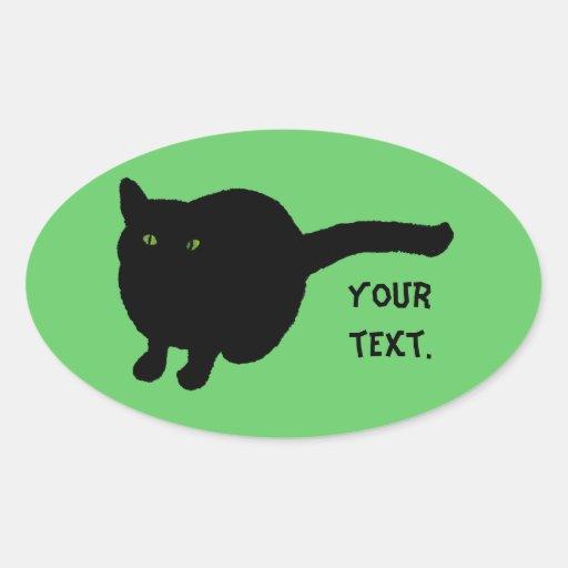 Silueta del gato negro, ojos verdes su pegatina
