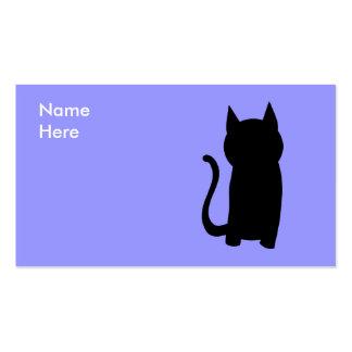 Silueta del gato negro que se sienta tarjetas de visita