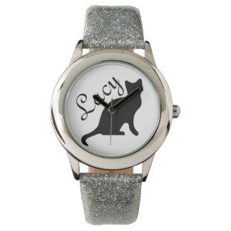 Silueta del gato negro reloj