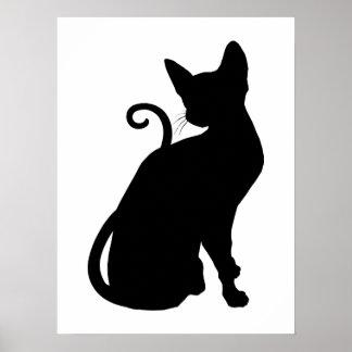Silueta del gato poster