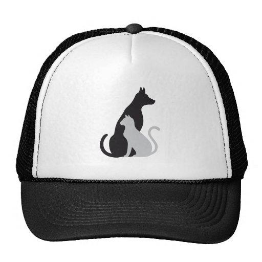 silueta del gato y del perro gorros bordados