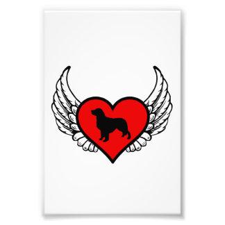 Silueta del golden retriever del ángel en corazón foto