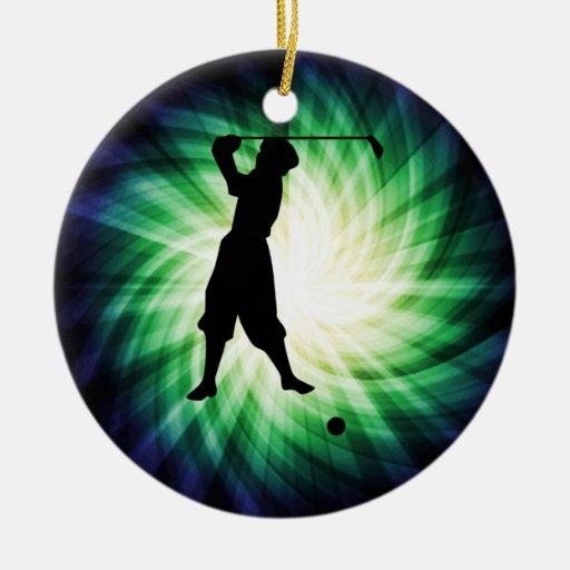 Silueta del golfista del vintage adorno redondo de cerámica