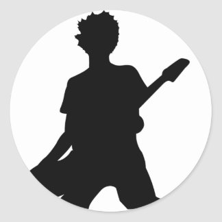 Silueta del guitarrista - B&W Pegatinas Redondas