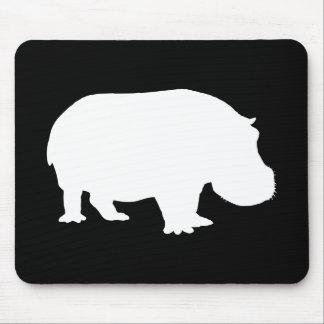 Silueta del hipopótamo tapete de ratón