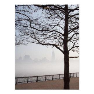 Silueta del horizonte de Nueva York a través de ra Fotografía