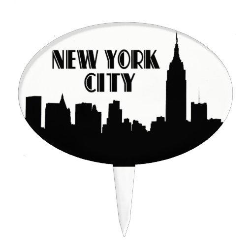 Silueta del horizonte de NYC, edificio #1 BW del e Decoraciones Para Tartas