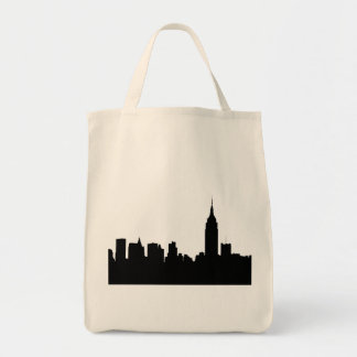 Silueta del horizonte de NYC, edificio #1 del Bolsa Tela Para La Compra