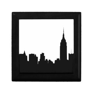Silueta del horizonte de NYC, edificio #1 del esta Joyero Cuadrado Pequeño