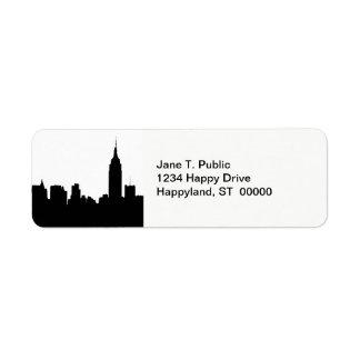Silueta del horizonte de NYC, edificio #1 del Etiqueta De Remitente